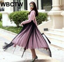 New Arrivals Autumn Winter High Waist Elegant Open Slide Bandage Woman Skirts Tulle Black Runway Skirts Plus Size XXS-7XL