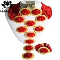 Majalia Luxury Opaque red African Beads Jewelry Set Crystal Bea Bride Jewelry Nigerian Wedding Beads Jewelry Sets 10CP012