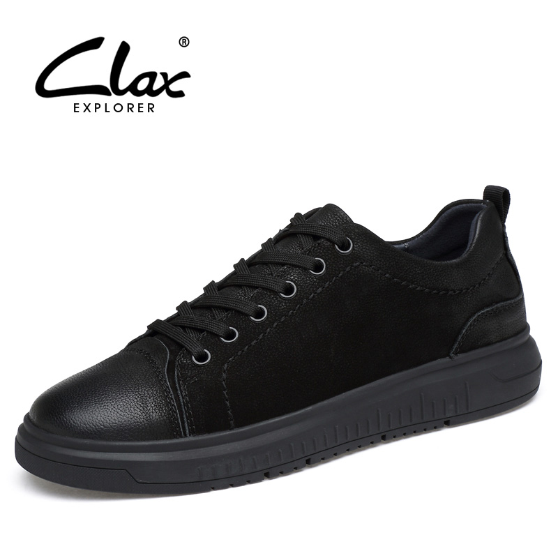CLAX Men's Leather Casual Shoes 2018 Spring Summer Fashion British Style Leisure Shoe Male Walking Footwear Large Size 38-46 clax men flat casual shoes 2018 spring summer fashion leisure shoe male suede leather loafer slip on breathable walking footwear