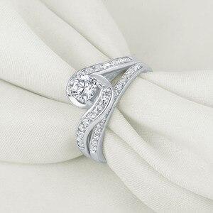 Image 2 - Набор свадебных колец Newshe, 2 шт., чистое 925 пробы, серебряное, 1,13 карат, круглые AAA обручальные кольца с фианитами для женщин, модные украшения