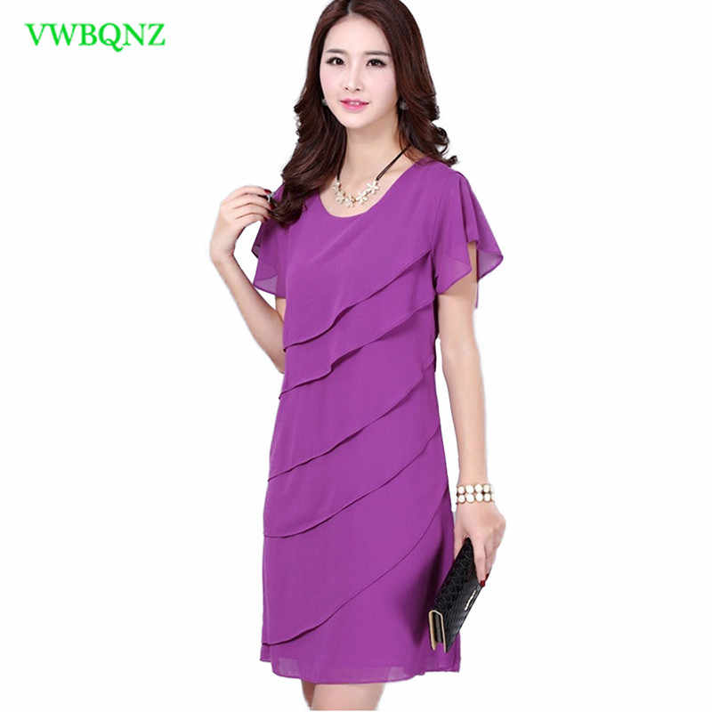 86cdff6a679e9 Summer Plus size Dress Women Loose Thin Round neck Chiffon Dress Women's  Fashion Korean Purple Flounce Short sleeve Dresses A119
