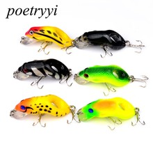 1PC 5.5cm 8.8g Frog Lure Fishing Lures Treble Hooks Top water Ray Artificial Minnow Crank Strong Soft Bait 30