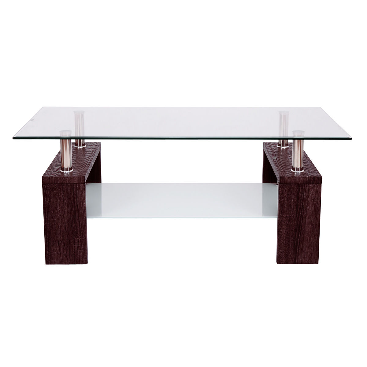 Giantex Rectangular Tempered Glass Coffee Table with Storage Shelf ...