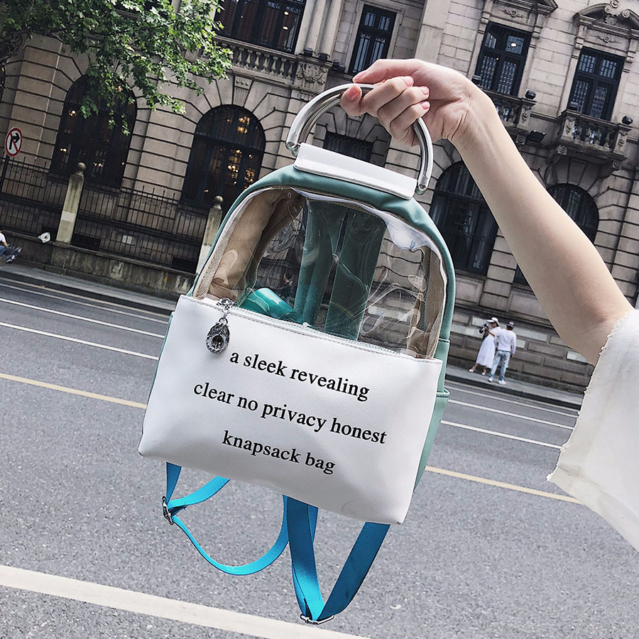 Printing Letter Clear Transparent Backpack Jelly Candy Color Schoolbag For Teenage Girls Leather Women Student Fashion Book Bag