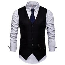 Мужской костюм жилет в западном стиле, Повседневный, Саморазвитие, на заказ, большой размер, жилет с цепочкой, фотографировать, свадебный жилет для делового костюма