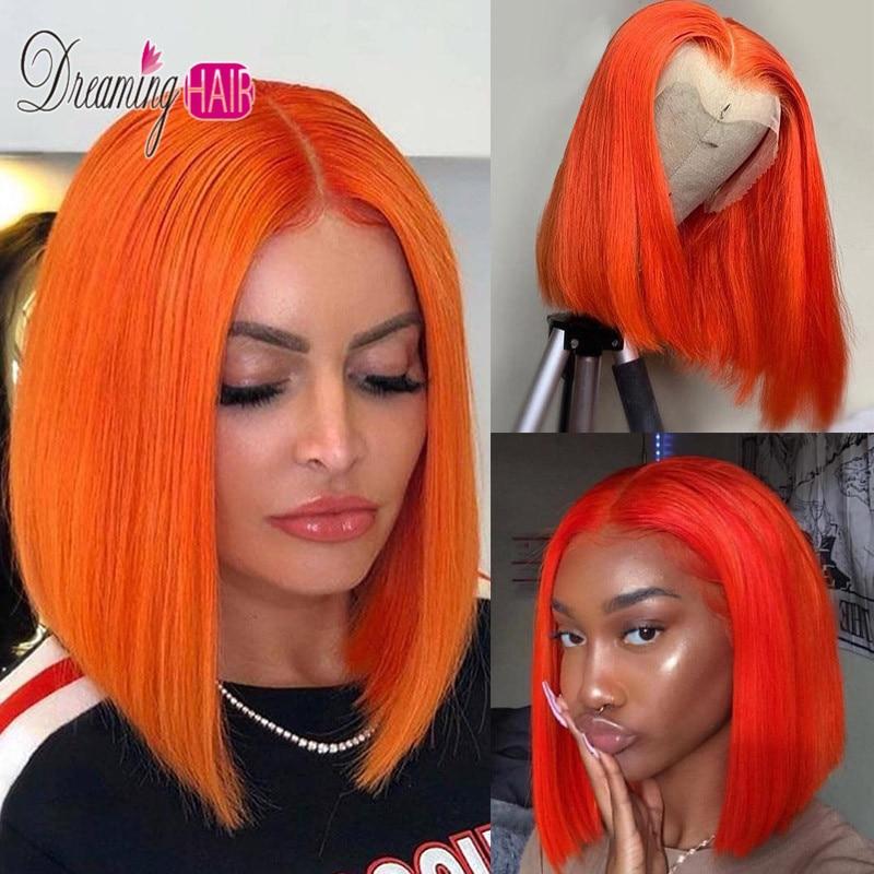 orange lace bob wig