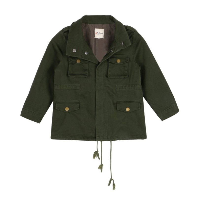 Army Green Kid Boy Girl Cotton Coat Zipper Jacket Tops Three-dimensional Pocket Outerwear Spring And Summer Fashion Clothing
