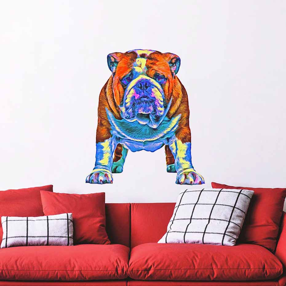 Colorful Peel Bulldog Dog Wall Sticker For Kids Rooms Removable Self Adhesive Wall Art Decals Mural Wallpaper Home Decoration