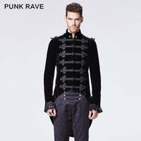 PUNK RAVE victoria gothic black coat with swallow tail with the chinese buttons decorated Y 593