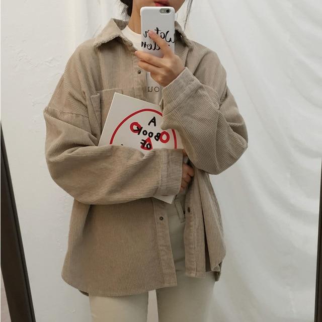 Corduroy Outerwear Coats Jackets Women 2019 Fashion Long Sleeve Windbreaker Coats And Jackets Women Casual Pocket Jacket Female