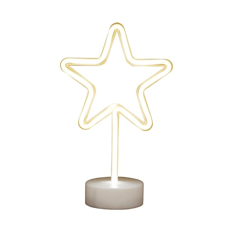 Creative LED Pentagram Star Neon Night Light For Kids Childrens Rooms Table Lamp Battery Power Night Lamp Party Decoration Light