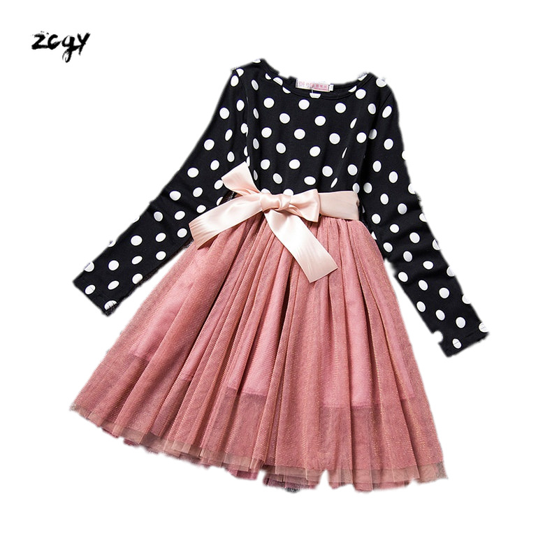 2019 Brand New Toddler Infant Child Kid Girl Baby Dot Dress Pageant Party Prom Party Wedding Casual Long Sleeve Dress 2-7T