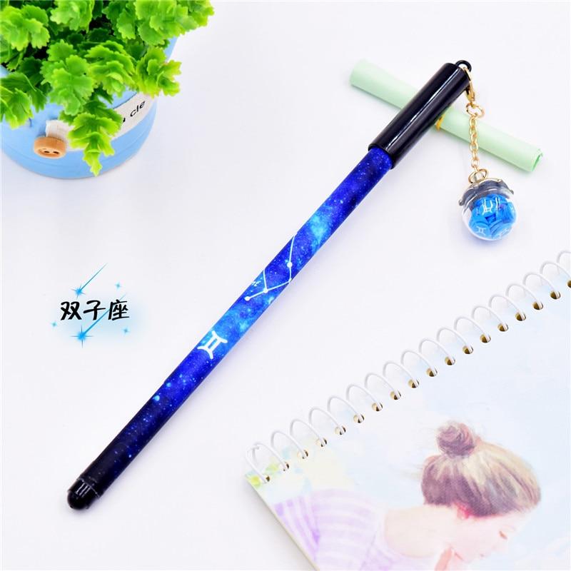 Image 2 - 12Pcs/Set Creative Mini Gel Pens Kawaii Cute Constellation Writing Pen 0.5mm Black Ink Color Pendant Pencil School Stationery-in Gel Pens from Office & School Supplies