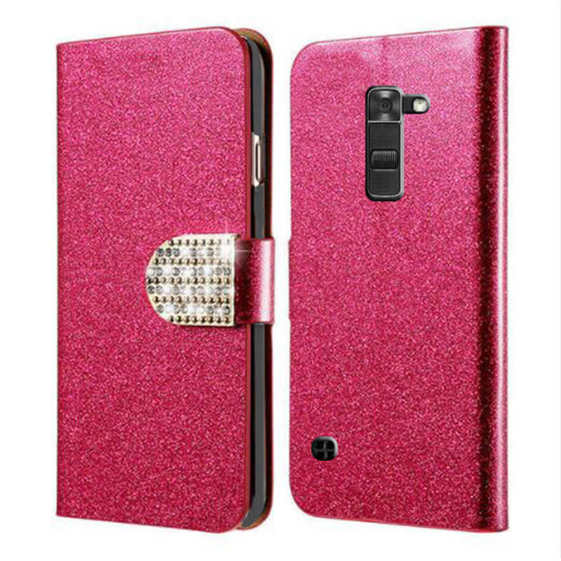 For LG K7 Luxury Flip Magnetic PU Leather Wallet Phone Case For LG K7 X210 X210DS k 7 Cover bag with diamond buckle
