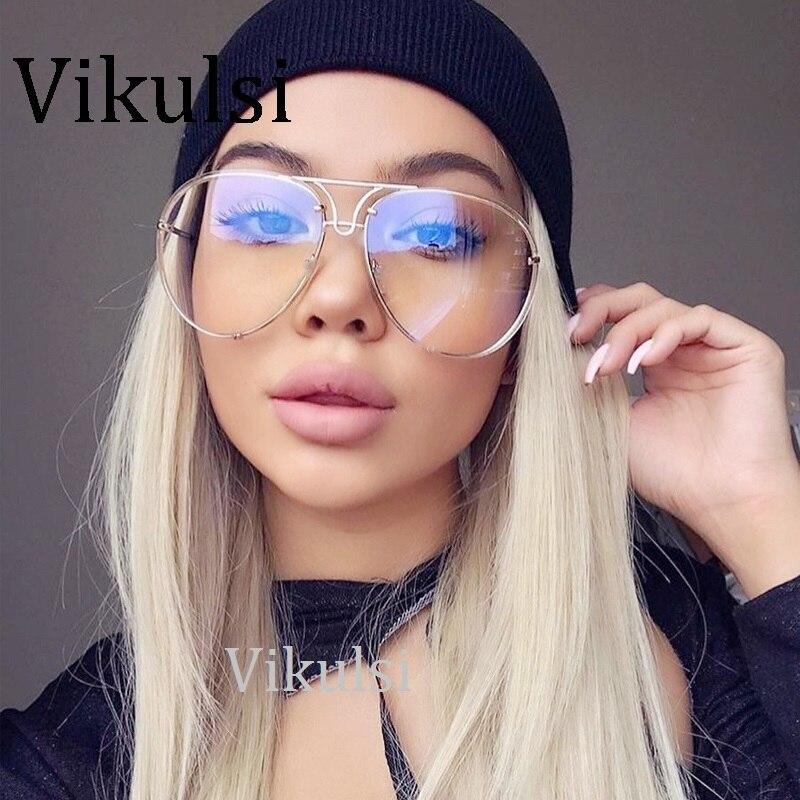 Gafas de sol redondas sin montura de lujo para mujer y hombre, gafas de sol de aviador con espejo grande de diseñador de marca para conducir, gafas de sol de gran tamaño