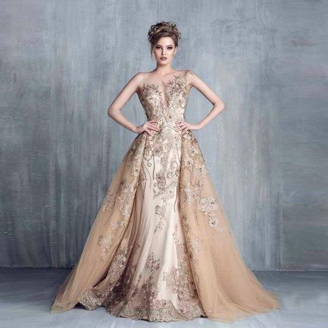 Prachtige Avondjurken.Royal Empire Haute Couture Avondjurken Met Afneembare Trein Luxe