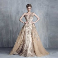 Royal Empire Haute Couture Evening Dresses with Detachable Train Luxury Lace Applique Exquisite Evening Gowns Vestido de festa