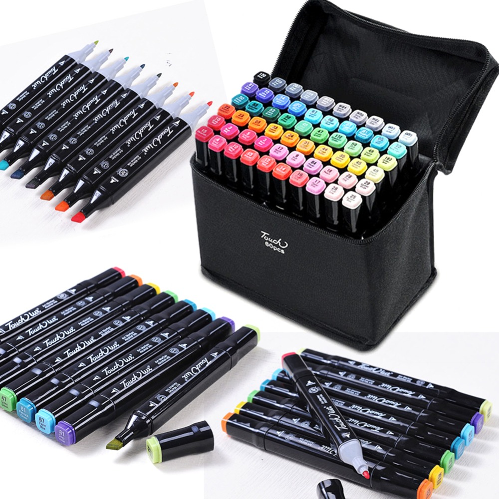 TOUCH LILT 30/40/60/80/168/204 Color Pigment Ink Washable DIY Marker Pens Manga Design Art Supplier Dual Tip Sketch Twin Pen touchnew 60 colors artist dual head sketch markers for manga marker school drawing marker pen design supplies 5type