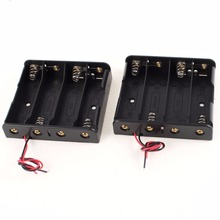50pcs/lot MasterFire High Quality Battery Storage Case Cover Plastic 4 x 18650 Batteries Box Holder Black With 6 Wire Leads