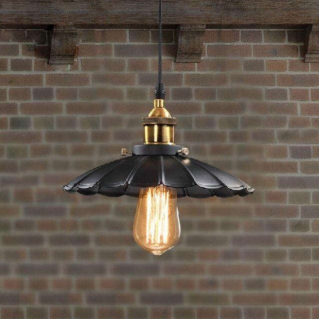 Edison Vintage Style Light Retro Nostalgia Chandelier Coffee Restaurant Led Black Lotus Umbrella Pendant