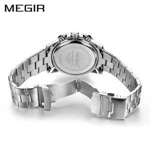 Image 3 - MEGIR Business Men Watch Luxury Brand Stainless Steel Wrist Watch Chronograph Army Military Quartz Watches Relogio Masculino