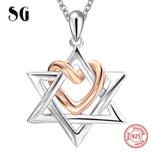 SG 925 sterling silver trendy style Hexagram chain pendant&necklace fashion jewelry making for lover gifts FREE SHIPPING