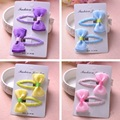 2 Pcs Per Set Children Hair Accessories Lovely Candy Color Bow Side Folder Handmade Wholesale Free Shipping