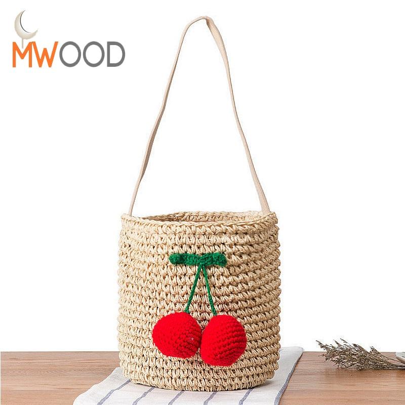 2017 Summer Famous Designer Cherry Straw Bucket Bag Women Pompom Hand-Woven Drawstring Shoulder Bag Girl Beach Bag Shopper Bolso