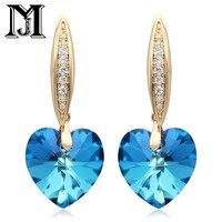 JiaMu Swarovski cristal 585 or rose CZ amour trois couleurs swarovski pendpant boucles d'oreilles pour wowen cadeau de partie de bijoux de mariage
