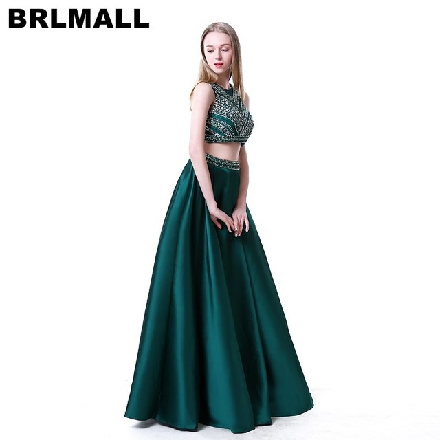 7f22732ad4f Trendy Two Pieces Green Prom Dresses Beaded Crystal A-Line Satin Long  Evening Dresses Sleeveless Long Party Gown robe de soiree