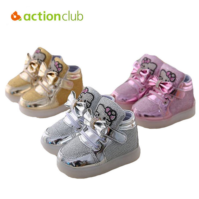 Fashion Baby Girls First Walkers New Sports Kids Shoes Casual Children Luminous Sneakers Newborn Infant Led Lighting