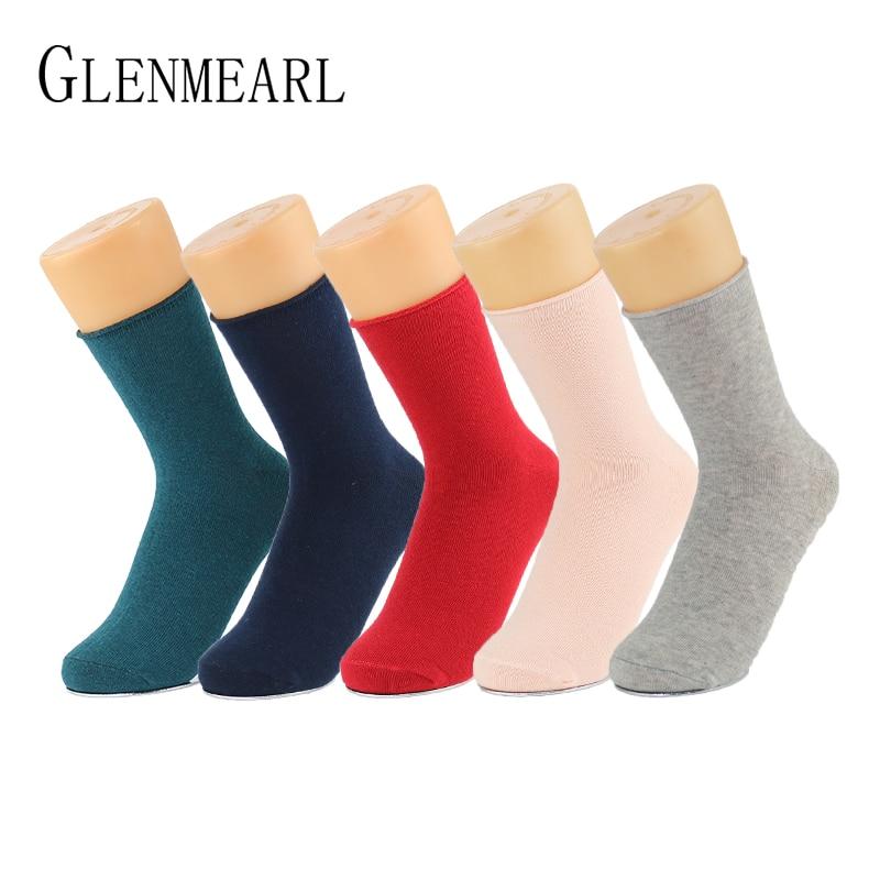 5 par / Lot bombažne ženske nogavice Vintage trdna spomladanska jesen moda kratka kompresija Coolmax kakovostne nogavice obleka ženske nogavice 69