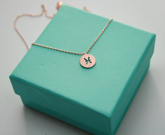 1PCS Zodiacal Pisces Necklace Zodiac Constellation Necklace Horoscope Astrology Signs Necklace Circle Disc Necklaces
