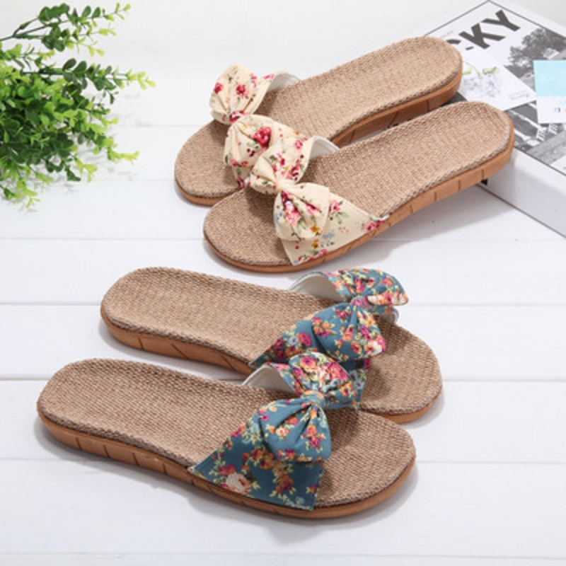 Summer and autumn linen slippers female summer home indoor floral non-slip bathroom cute cool slippers wholesale 4