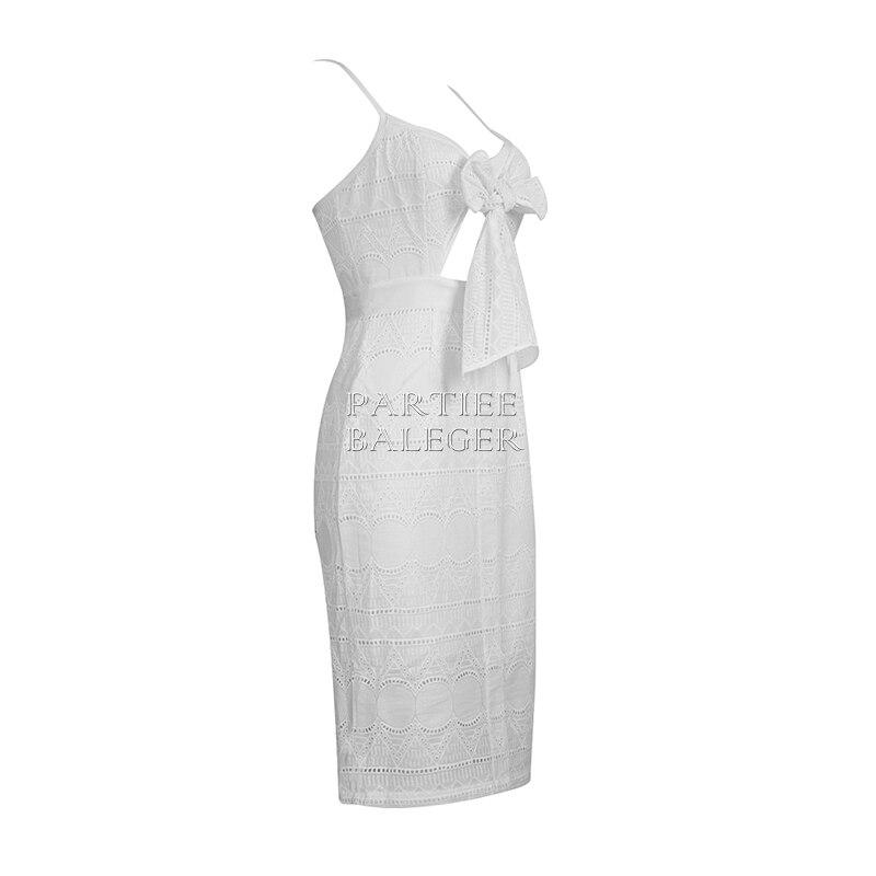 Longueur Genou Party Dentelle Mode Dos Embelli Nu Cou V Arrivée Gros Bandage 2019 Celebrity En Nouvelle De Blanc Robe Arc Sexy xTOw16qtn0