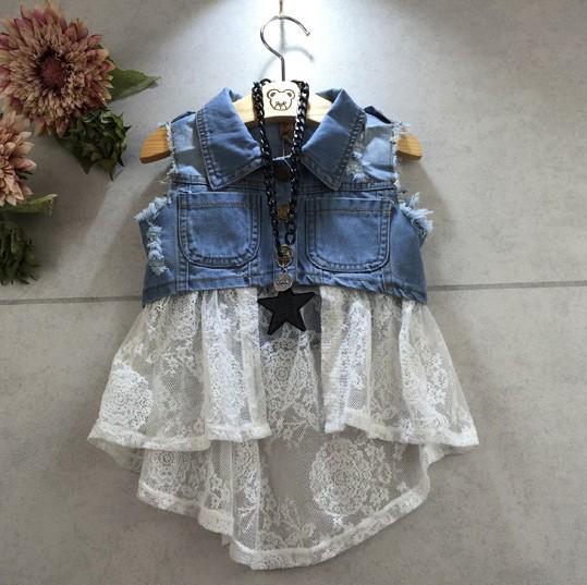 Atacado EMS DHL Frete grátis little girl Fashion Lavagem denim Rendas Colete Hiqh Qualidade Roupa Das Crianças