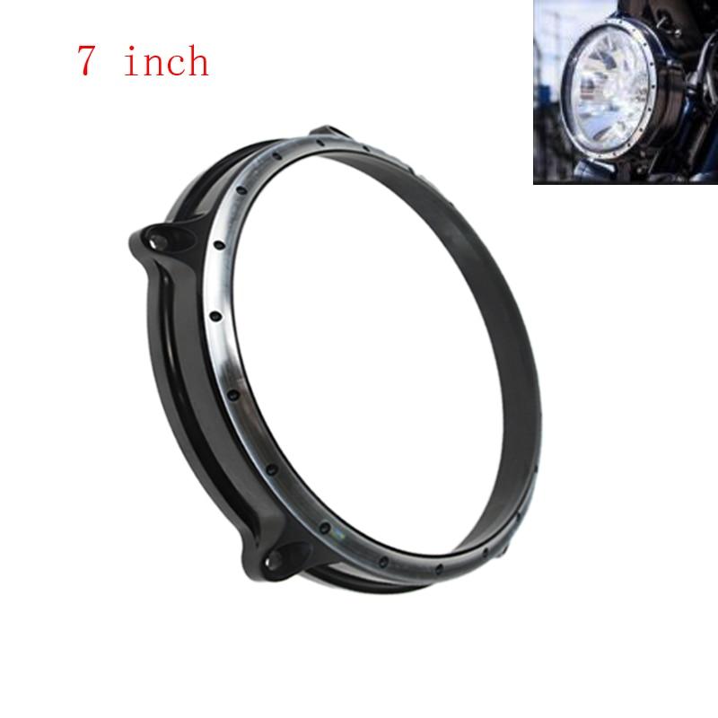 Vintage 7 Black Contrast Cut Headlight Lamp Bezel Trim Ring For Harley Touring Electra Street Tri