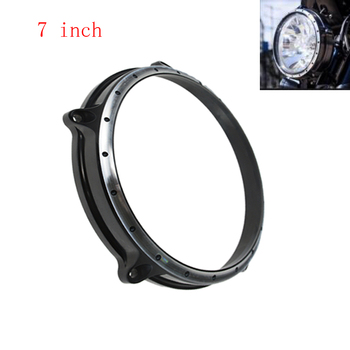 "Vintage 7"" Black Contrast Cut Headlight Lamp Bezel Trim Ring For Harley Touring Electra Street Tri Glide BMW R Nine T ABS 14-16"