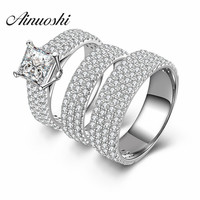 AINUOSHI 3pc Princess Square Cut Promise Couple Lover Ring Men Engagement Wedding Anillos nscd 925 Sterling Silver Eternity Ring