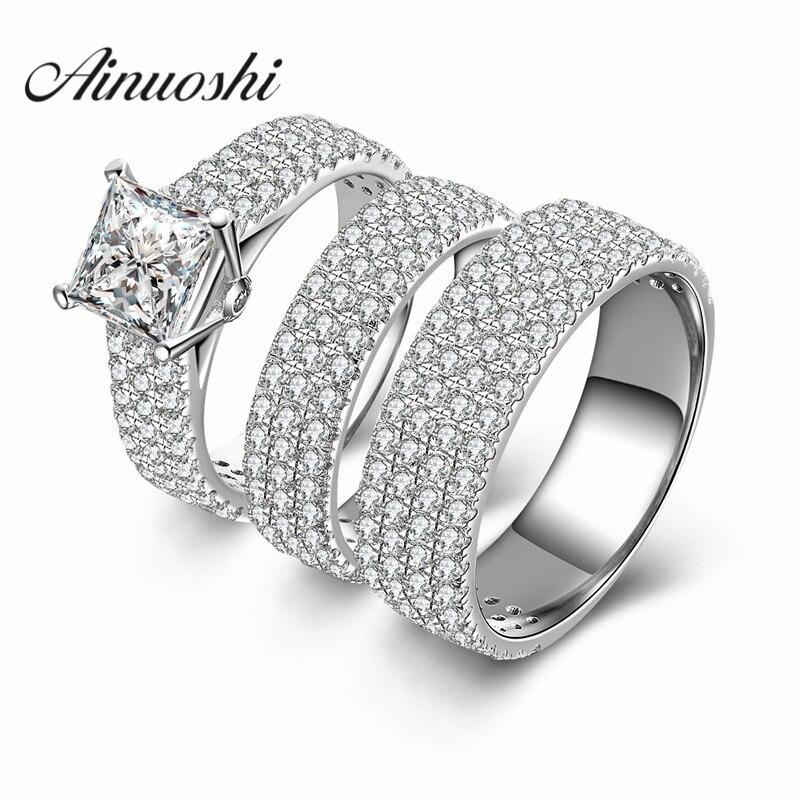 Ainuoshi 3 шт. принцесса квадратным вырезом обещание пара любитель кольцо Для мужчин Обручение Свадебные anillos NSCD стерлингового серебра 925 кольцо...