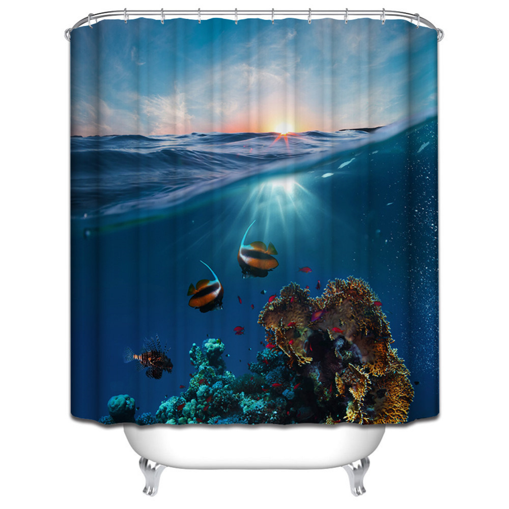 Polyester Mildew Waterproof Bath Curtain 3D Underwater world Seascape Digital Printed Shower Curtain with Hooks Bathroom Decor