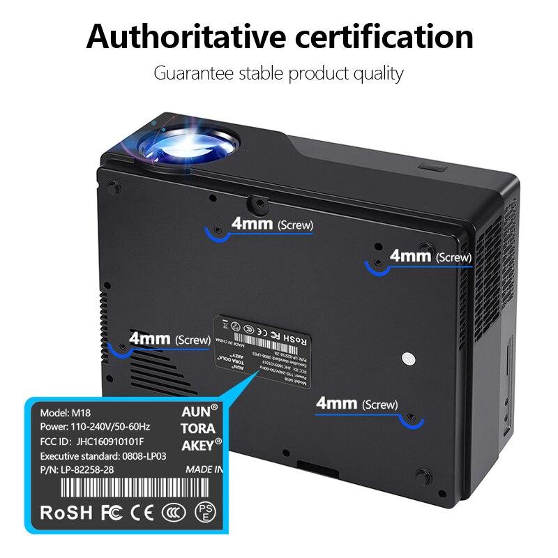 AUN Full HD proyector 1920x1080 resolución LED proyector apoyo AC3. Teatro en Casa ¡5500 lúmenes! (Opcional Android WIFI) M18 - 4