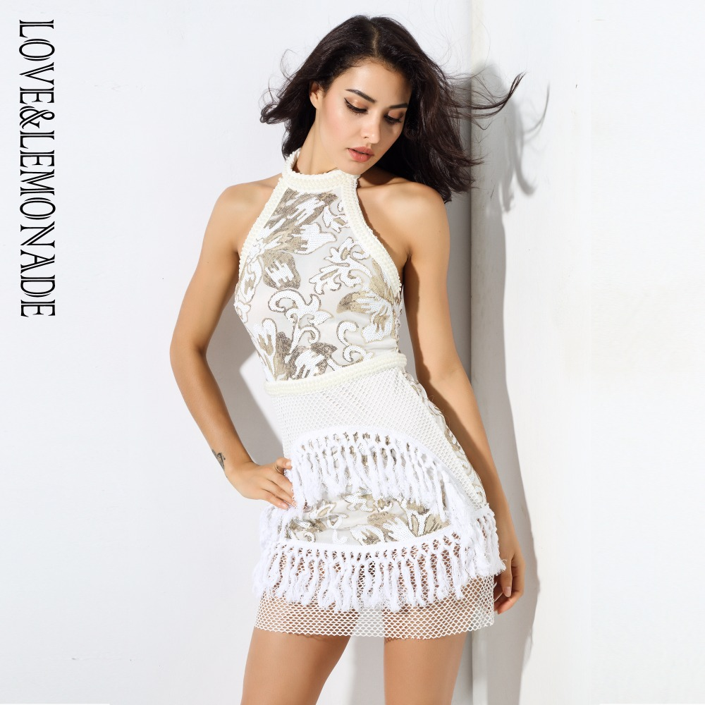 Love Lemonade Gold Halter Mesh Stitching Tassel Sequins Dress LM0335