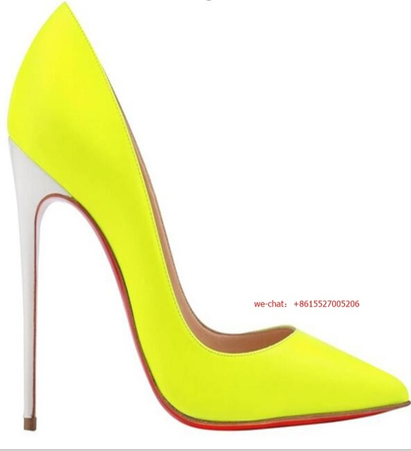 6c737ffacbf Discount Neon green Pointed toe Thin High Heels Sexy PU leather Dress Pumps  Women 10cm 12cm Stiletto Heels