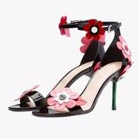 Брендовые женские подсолнечника в форме сердца босоножки женские босоножки на высоком каблуке Высококачественные Босоножки с открытым но