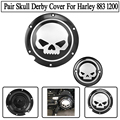 One Pair Black Motorcycle Derby Skull Timing Timer Cover For Harley XL 883 XL 1200 Sportster