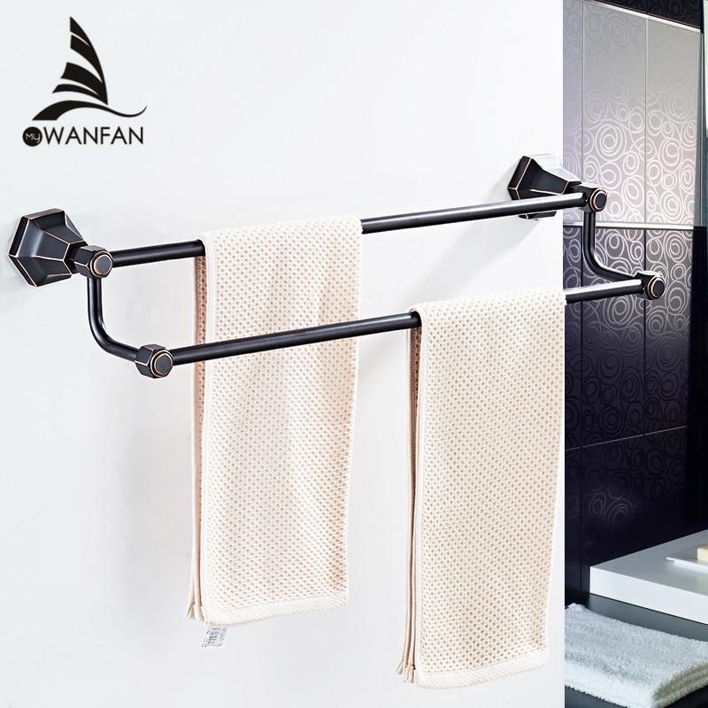 где купить Double towel bars Black Color Wall Mounted Towel Holder in Towel Racks Towel Hanger Bathroom Accessories Bath hardware 93011 по лучшей цене