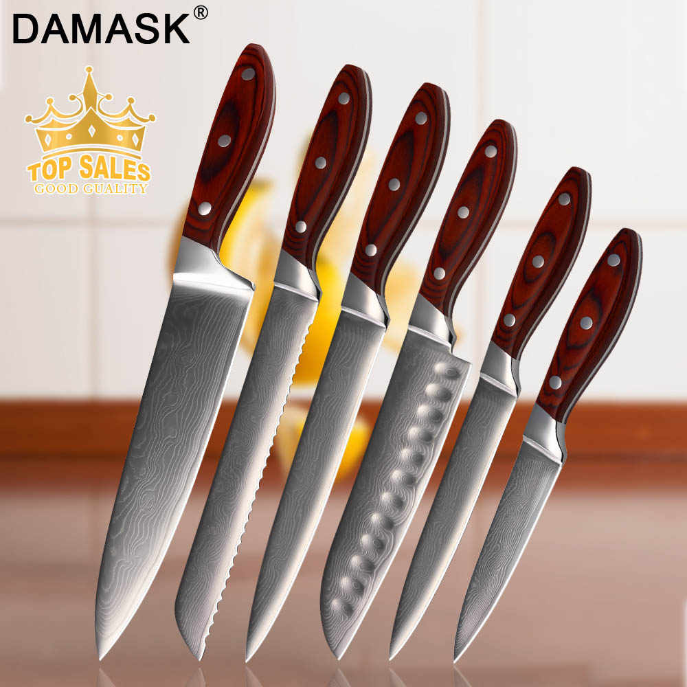 DAMASK Damascus Knife Japanese Chef Knife Full Tang VG10 Damascus Steel Blade Cooking Kitchen Knives Vegetables Cutter Cutlery