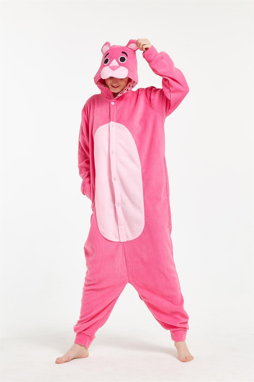 Unisex Pink Panther Animal Kigurumi Pajamas Cosplay Sleepwear Costumes Jumpsuit