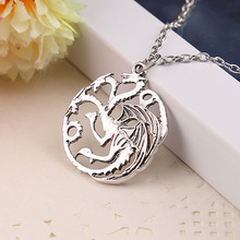Vintage Necklace Collares Song Of Ice and Fire Game Of Thrones Targaryen Dragon Badge Necklace Movie Jewelry Colar Collier